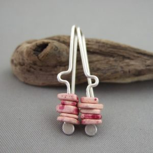 Cyclamen Pink Greek Ceramic and Sterling Silver Earrings