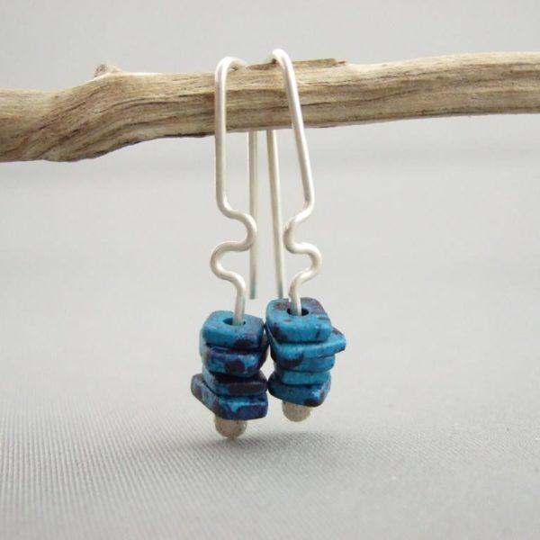 Grotto Blue Greek Ceramic and Sterling Silver Earrings