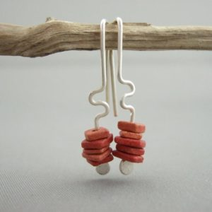 Akroterian Red Greek Ceramic and Sterling Silver Earrings