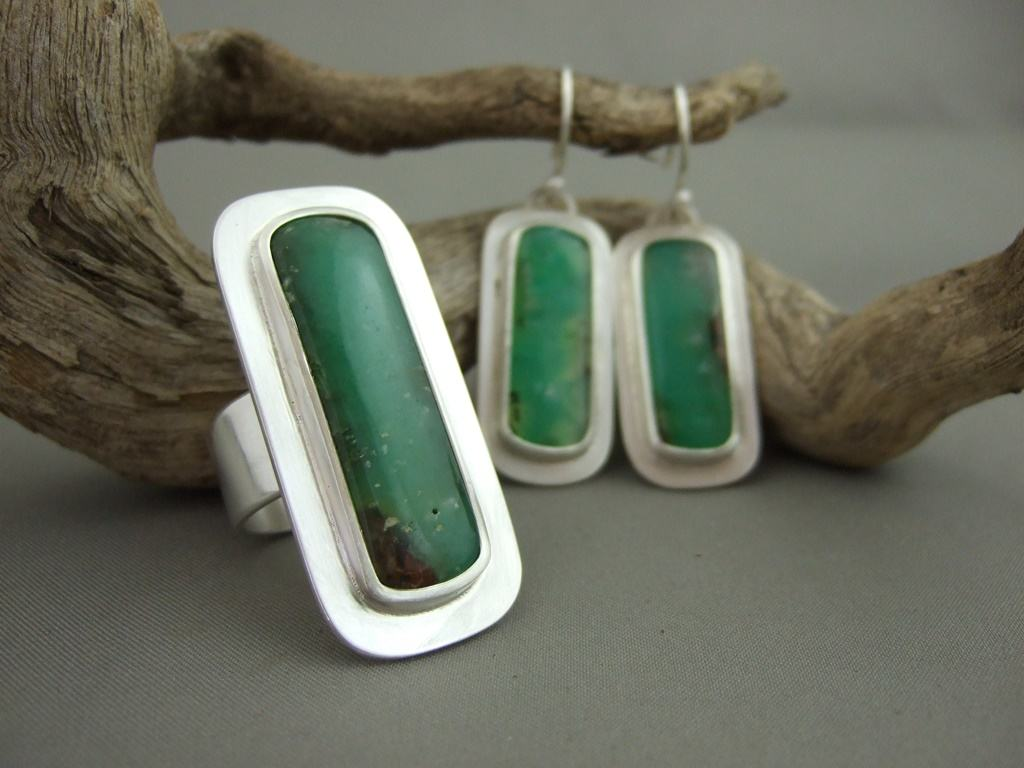 Chrysoprase and Sterling Silver Ring and Earring Set
