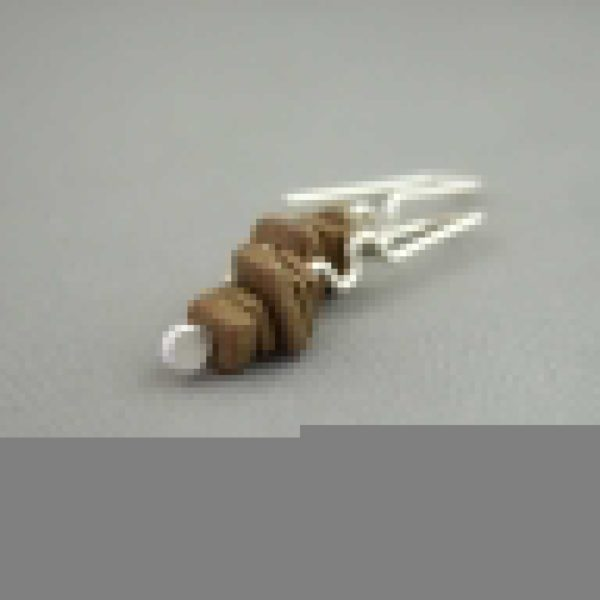 Helladic Bronze Greek Ceramic and Sterling Silver Earrings