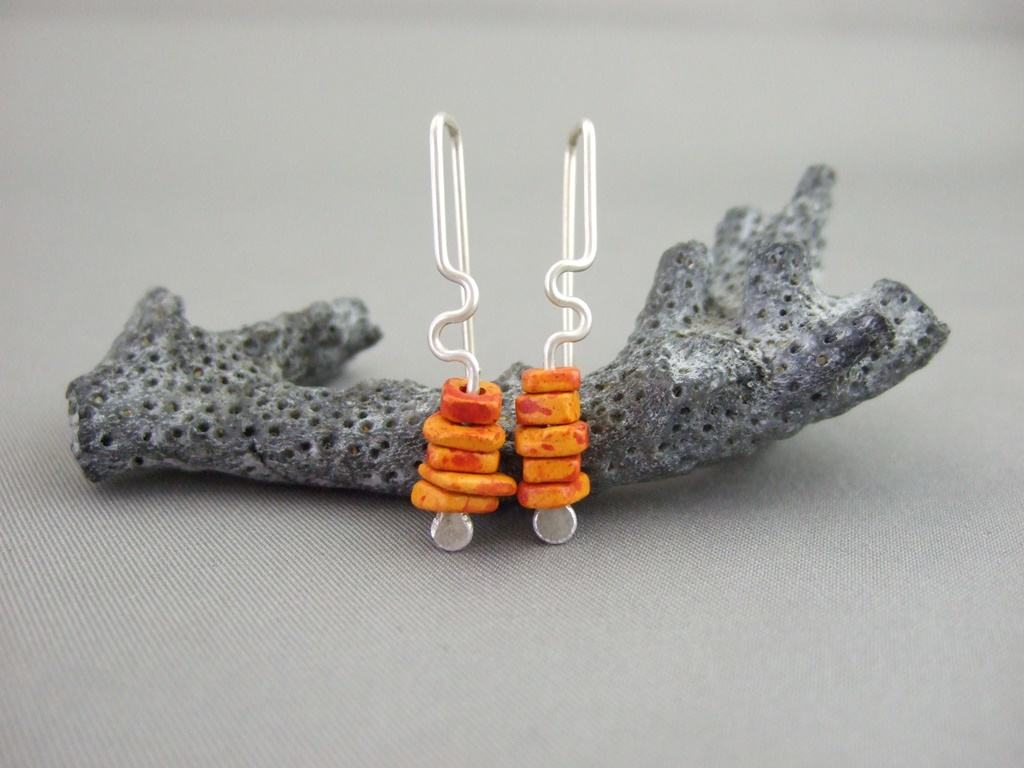 Portokali Orange Greek Ceramic and Sterling Silver Earrings