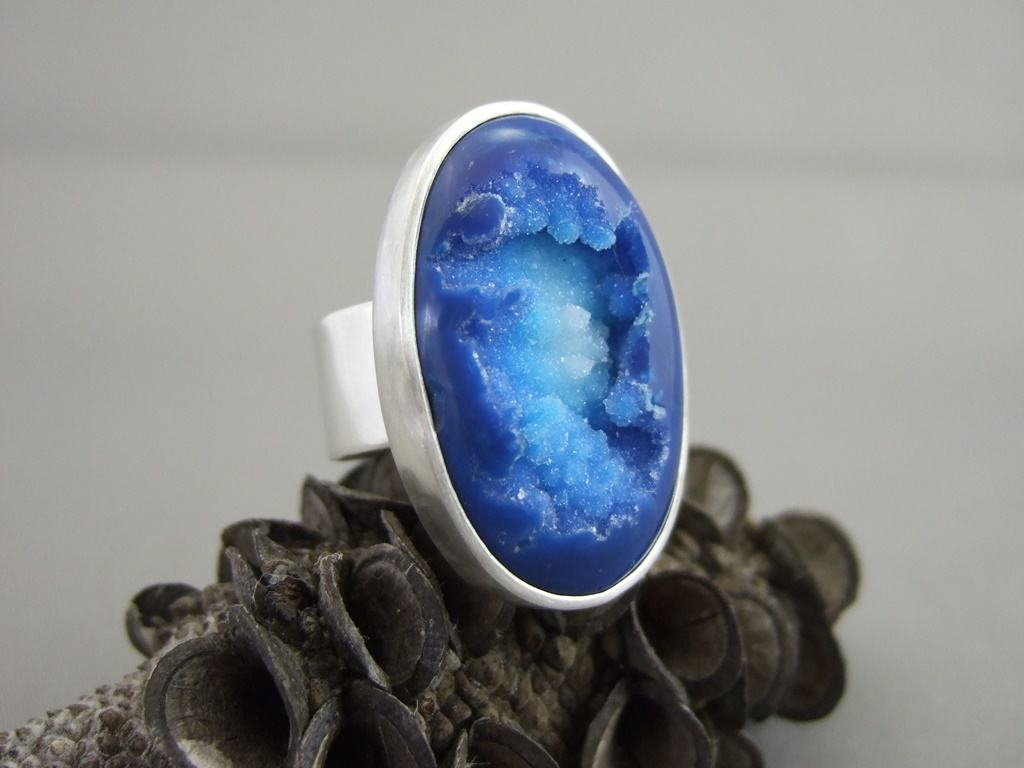 Supernova Blue Drusy Agate and Sterling Silver Ring