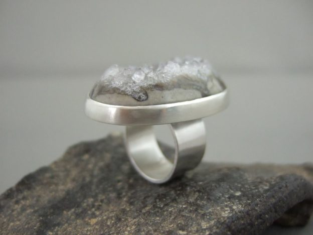 Grey Drusy Agate and Sterling Silver Ring