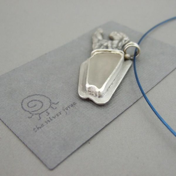 Fish - White Sea Glass Cuttlefish Cast Pendant