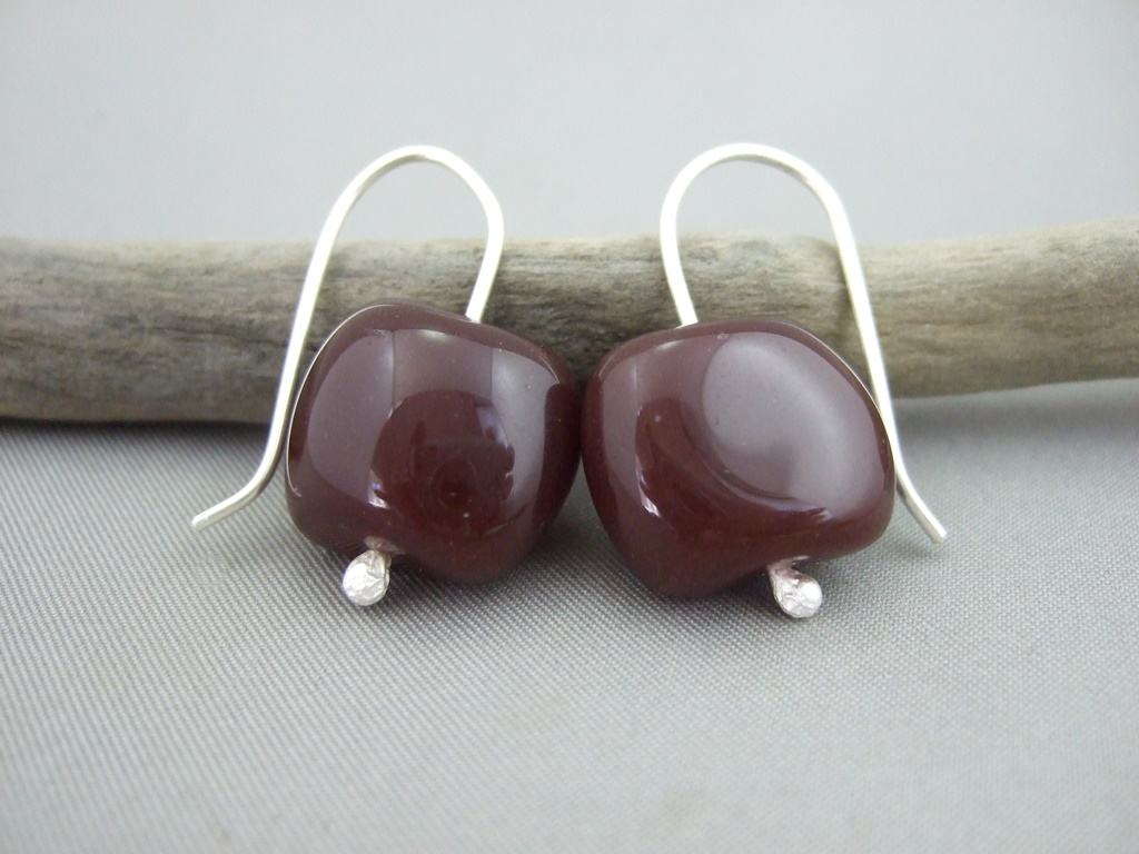 Chocolate Fudge Czech Glass and Sterling Silver Earrings
