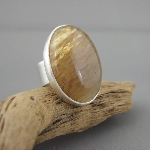 Brown Moss Quartz and Sterling Silver Ring