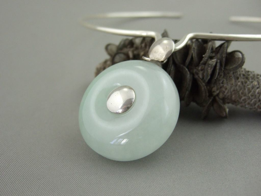 Jade and Sterling Silver Pendant