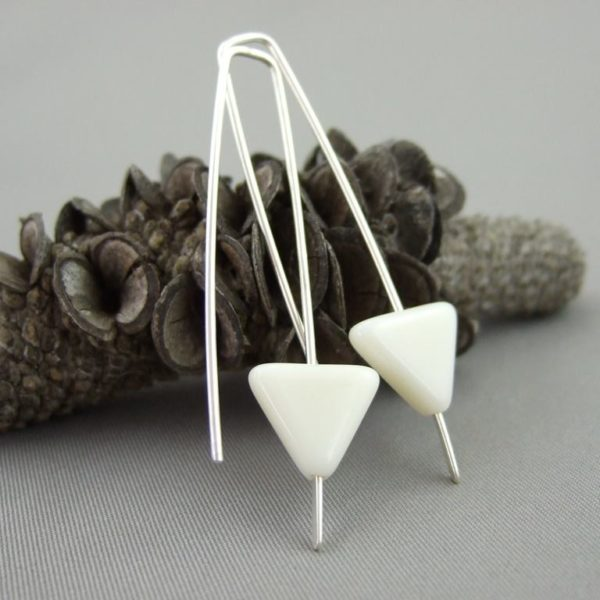 Vanilla Triangle Czech Glass and Sterling Silver Earrings