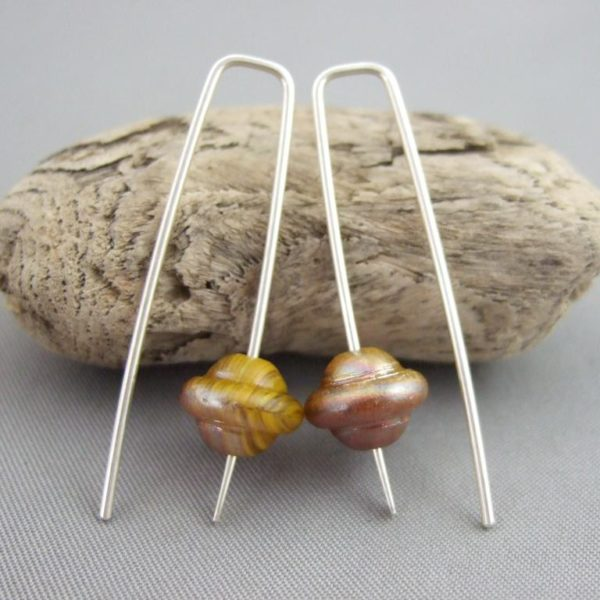 Slitheen Brown Czech Glass and Sterling Silver Extraterrestrial UFO Earrings