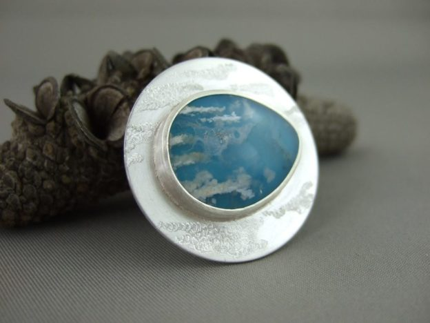 Agate and Turquoise Sterling Silver Cloud Brooch