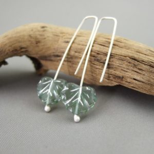 Icy Green Leaf Czech Glass and Sterling Silver Earrings