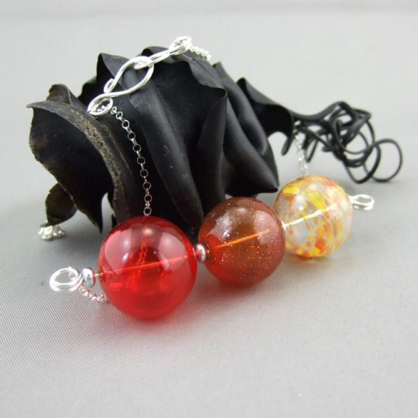 Horizontal Bubble Trio Handblown Glass and Sterling Silver Necklace
