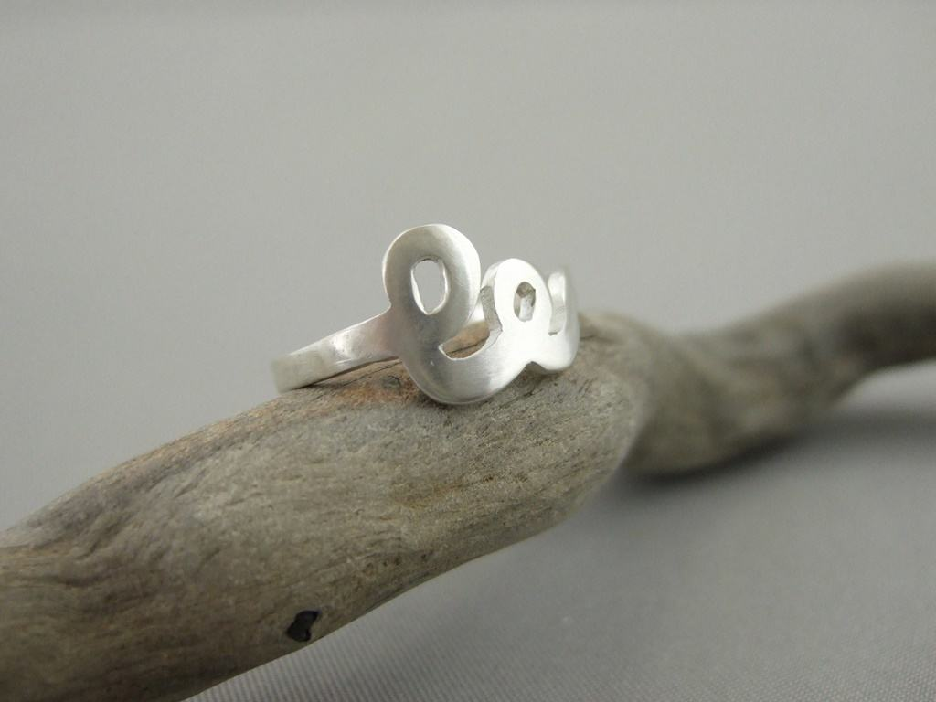 Sterling Silver Initials Ring