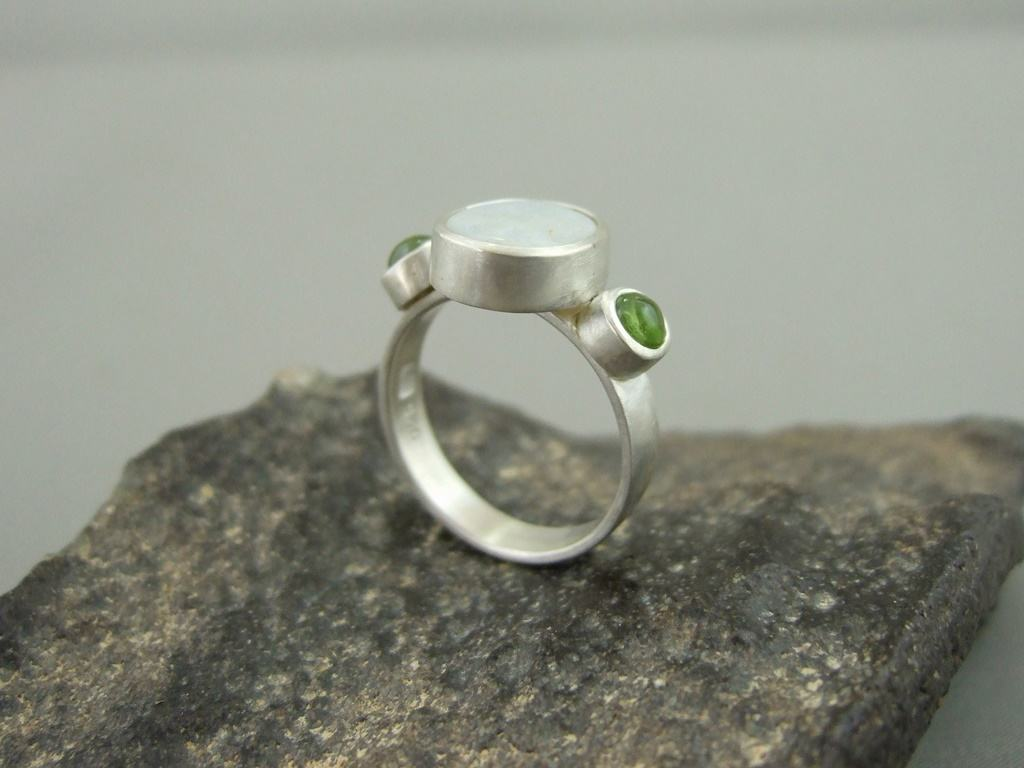 Opal, Peridot and Sterling Silver Ring