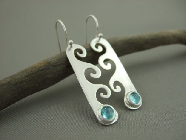 Apatite and Sterling Silver Wave Earrings