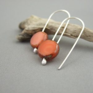 Apricotty Orange Picasso Coin Czech Glass and Sterling Silver Earrings