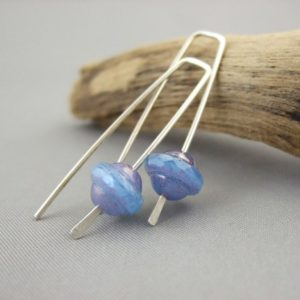 Randall Hyacinth Blue Czech Glass and Sterling Silver UFO Earrings