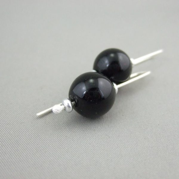 Black Handblown Glass Bubble and Sterling Silver Earrings