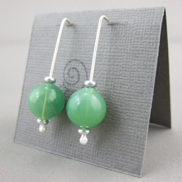 Opaque Green Handblown Glass Bubble and Sterling Silver Earrings