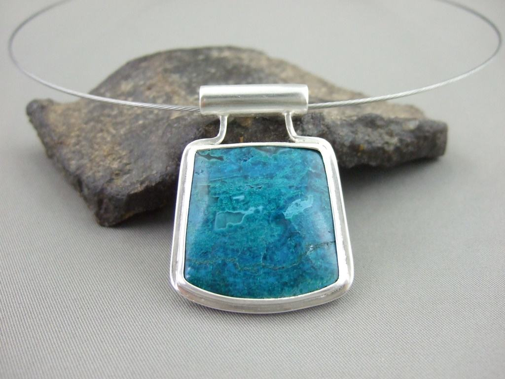 Morenci Chrysocolla and Sterling Silver Pendant