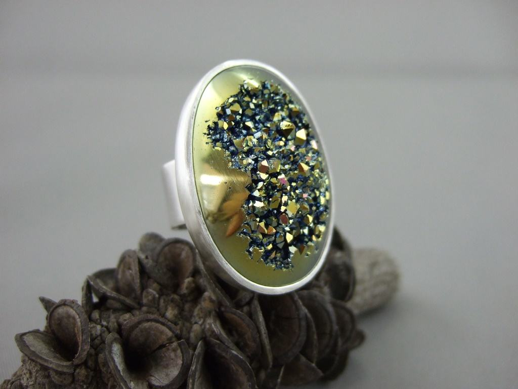 Olive Green Titanium Coated Drusy and Sterling Silver Ring