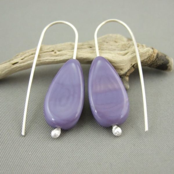 Lavender Drop Czech Glass and Sterling Silver Earrings
