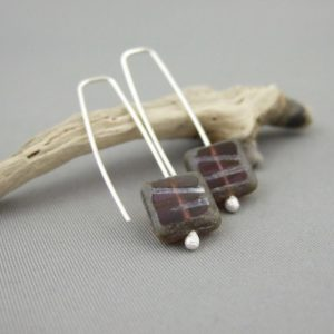 Blueberry Tile Czech Glass and Sterling Silver Earrings