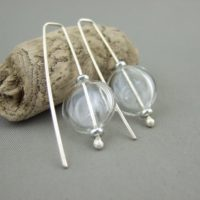 Flat Coin Clear Handblown Glass Bubble and Sterling Silver Earrings