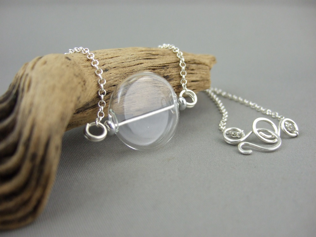 Flat Coin Clear Handblown Glass Bubble and Sterling Silver Necklace