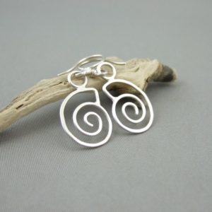 Sterling Silver Spiral Seashell Drop Earrings