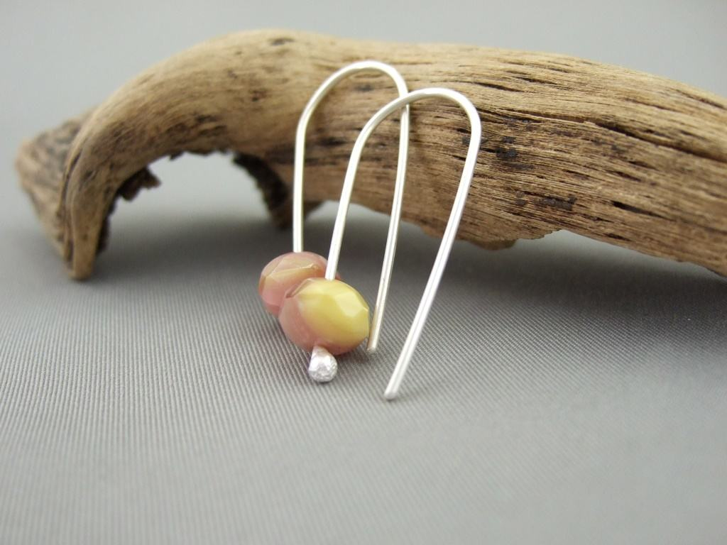 Pink Lemonade Faceted Czech Glass and Sterling Silver Earrings