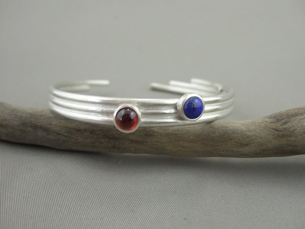 Garnet, Lapis Lazuli and Sterling Silver Bangle