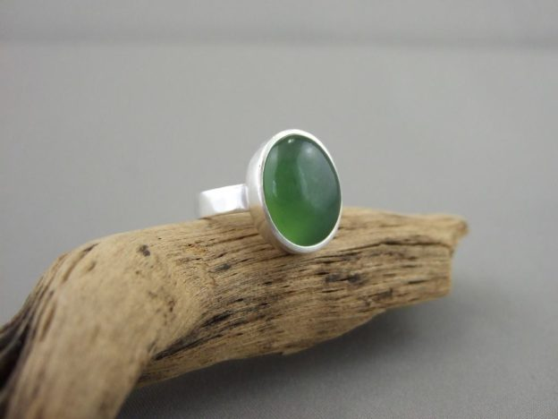 Serpentine and Sterling Silver Ring