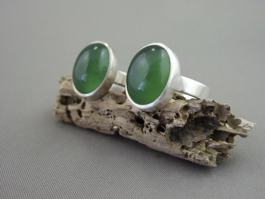 Serpentine and Sterling Silver Rings