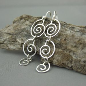 Sterling Silver Spiral Seashell Dangle Earrings