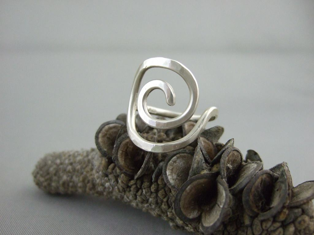 Large Sterling Silver Spiral Seashell Ring