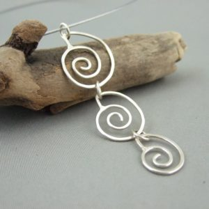 Sterling Silver Spiral Seashell Dangle Pendant