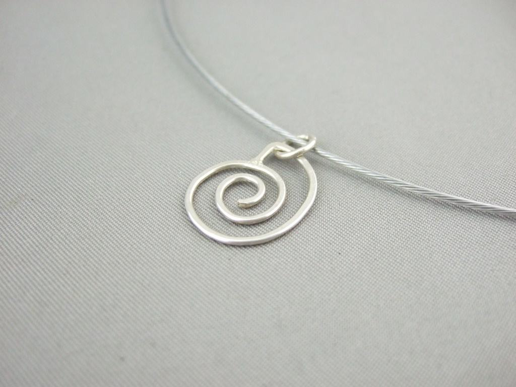 Sterling Silver Spiral Seashell Drop Pendant