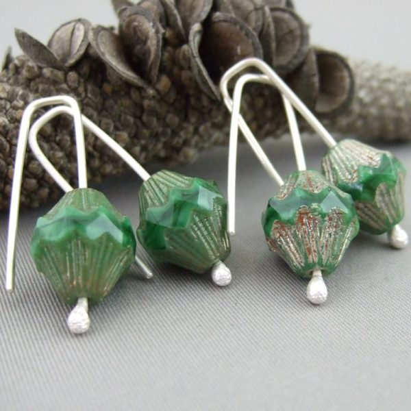 Renaissance Green Czech Glass and Sterling Silver Earrings
