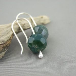 Dark Moss Agate and Sterling Silver Mineralist Earrings