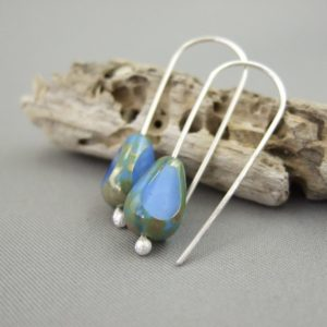 Ciel Blue Teardrop Picasso Earrings