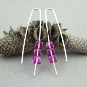Magenta Czech Glass Cube and Sterling Silver Earrings