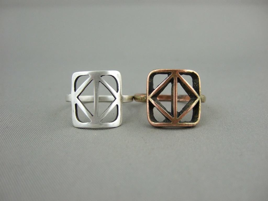 Geometric Sterling Silver Ring