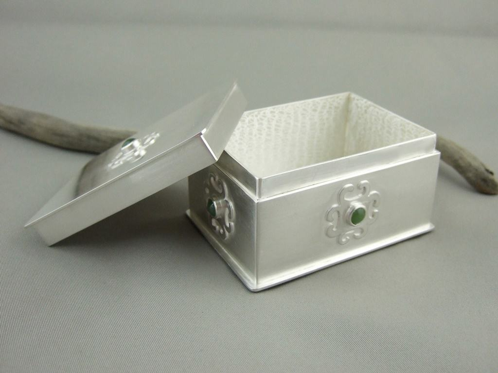 Sterling Silver and Serpentine Box