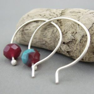 Jelly Red and Turquoise Blue Czech Glass and Sterling Silver Round Hoop Earrings