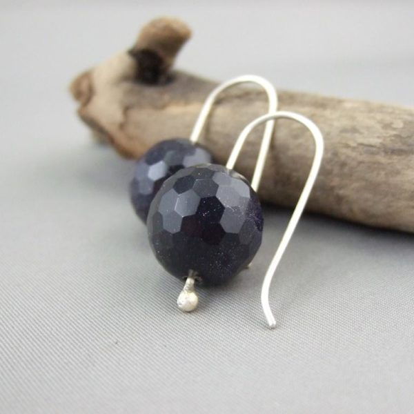 Disco Blue Sandstone and Sterling Silver Mineralist Earrings
