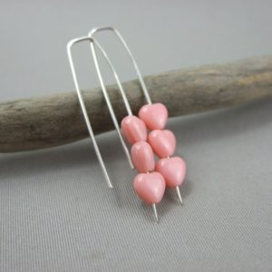 Tiny Pale Pink Czech Glass Heart and Sterling Silver Earrings