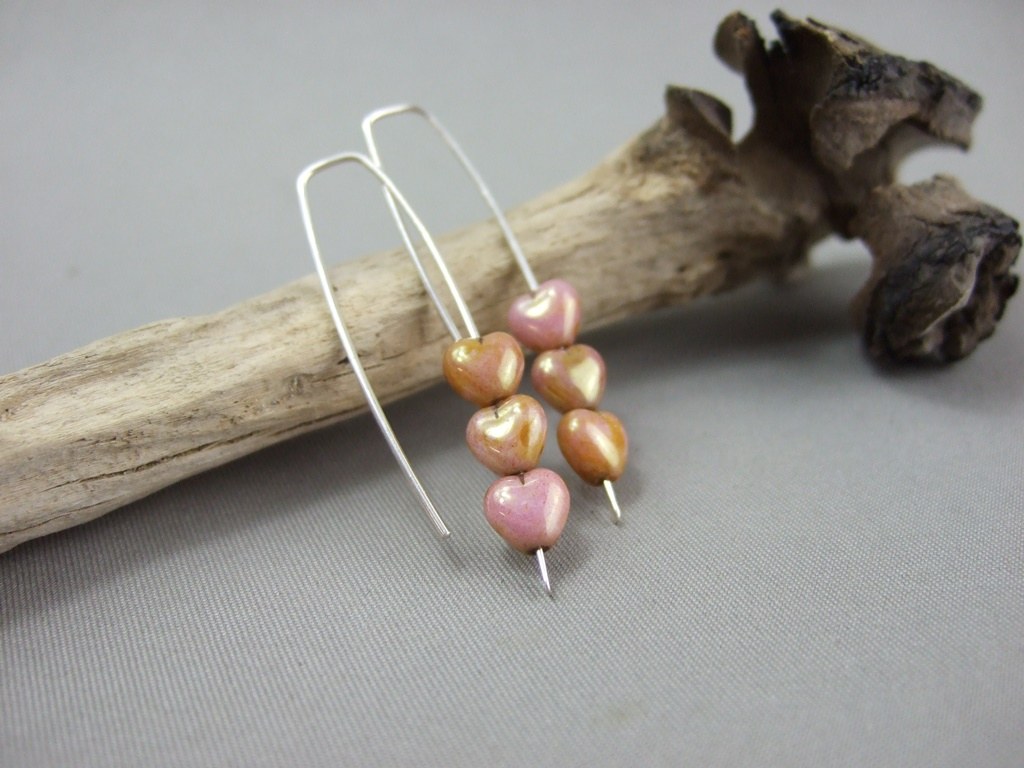 Tiny Bronze Czech Glass Heart and Sterling Silver Earrings