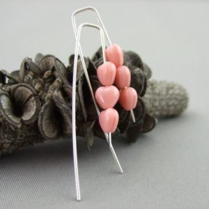 Tiny Pink Czech Glass Heart and Sterling Silver Earrings